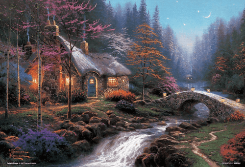Beverly Jigsaw Puzzle M81-846 Thomas Kinkade Twilight Cottage (1000 S-Pieces)