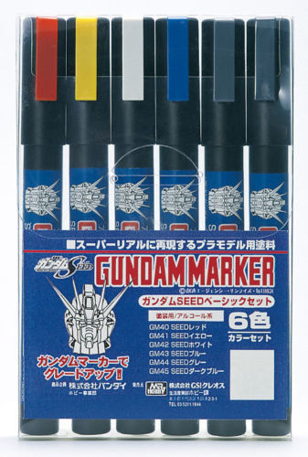 GSI Creos Mr.Hobby GMS109 Gundam Marker Seed Basic Set (6 Colors Pen)