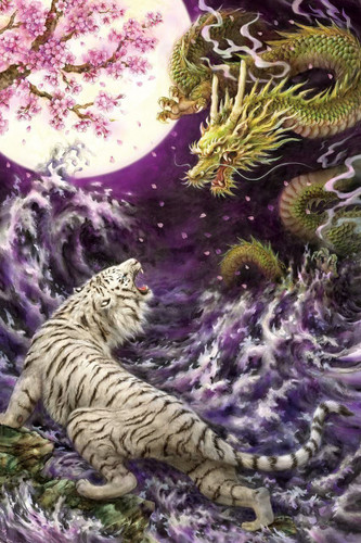 Epoch Jigsaw Puzzle 23-087 Japanese Illustration Tiger and Dragon (2016 S-Pieces)