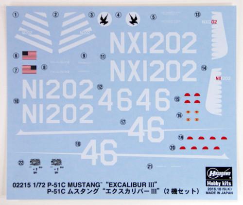 """Hasegawa 02215 P-51C Mustang """"Excalibur III"""" 2 set 1/72 scale kit"""