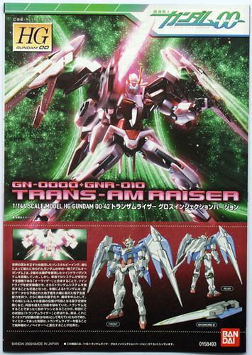 Bandai HG OO 42 Gundam GN-0000+GNA-010 TRANS-AM RAISER 1/144 Scale Kit
