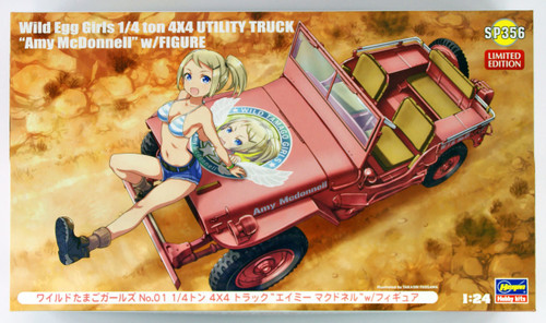 "Hasegawa SP356 Wild Egg Girls No.1 1/4t 4x4 Truck ""Amy McDonnell"" w/ Figure 1/24 scale kit"
