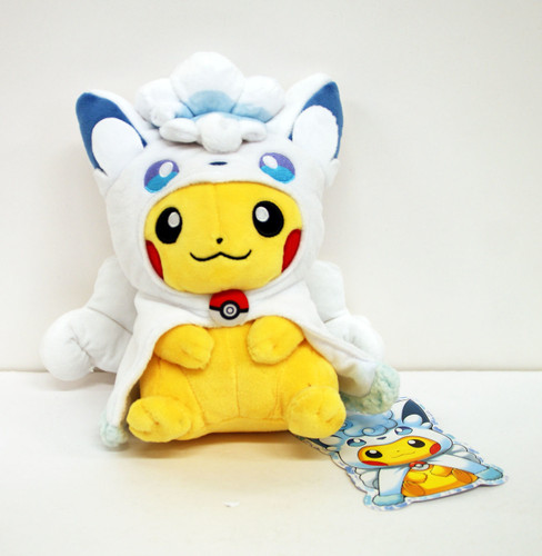 Pokemon Center Original Plush Doll Alola Vulpix (Rokon) Poncho Pikachu