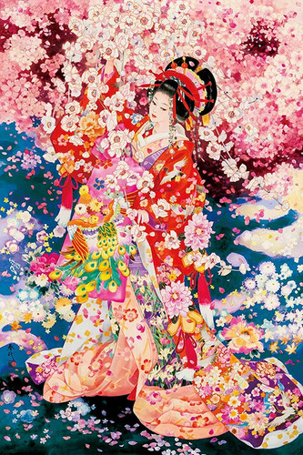 Epoch Jigsaw Puzzle 11-568 Japanese Illustration Kimono & Cherry Blossoms (1000 Pieces)