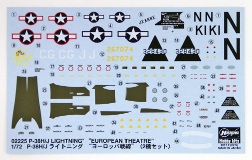 Hasegawa 02225 P-38H/J Lighting European Theatre 1/72 Scale Kit