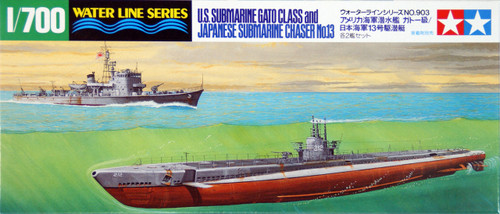 Tamiya 31903 US Submarine Gato Class & Japanese Chaser No.13 1/700 Scale Kit