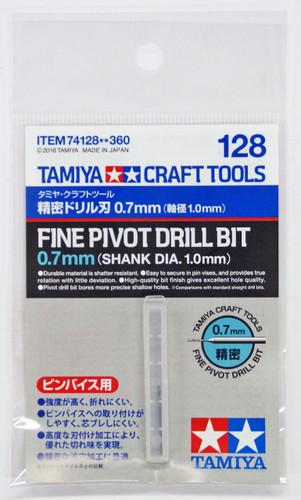Tamiya 74128 Craft Tools - Fine Pivot Drill Bit 0.7mm (Shank Diameter 1.0mm)