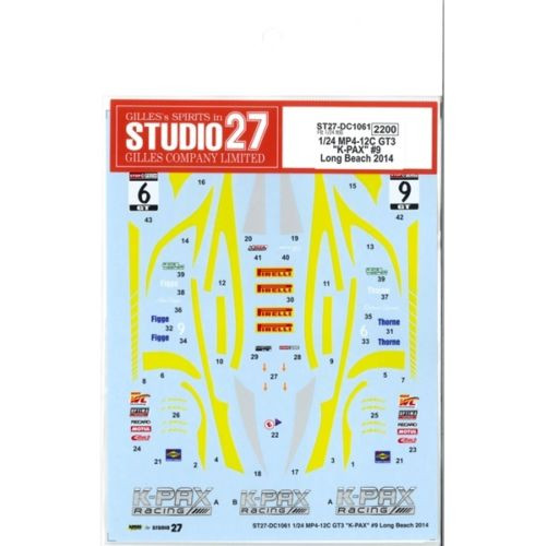 "Studio27 ST27-DC1061 McLaren MP4-12C GT3 ""K-PAX"" #9 Decal for Fujimi 1/24"