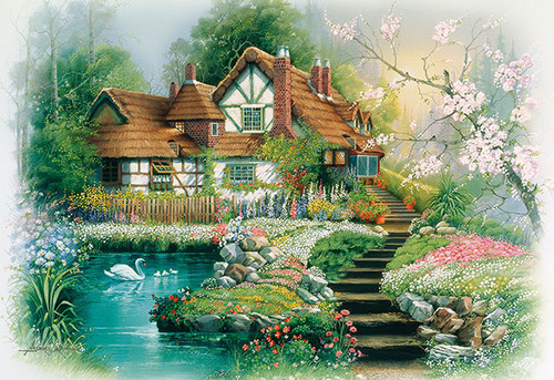 APPLEONE Jigsaw Puzzle 300-328 Andres Orpinas Flower Village (300 Pieces)