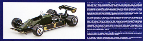 Ebbro 20019 Team Lotus Type 91 Belgian GP 1982 1/20 scale plastic model kit