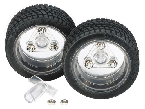 Tamiya 69916 Sports Tire Set 56mm Dia. Clear Wheels