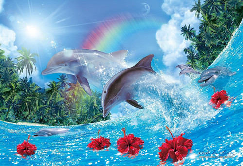 Epoch Jigsaw Puzzle 58-502s Lassen Shining Dolphins (450 S-Pieces)