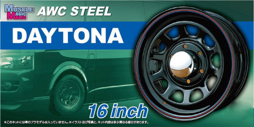 Aoshima 54284 Tuned Parts 64 1/24 MUSCALE MAGIC ATC STEEL DAYTONA 16 inch Tire & Wheel Set