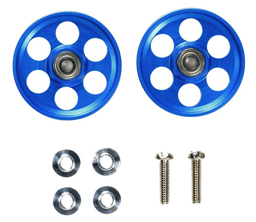 Tamiya 95315 Mini 4WD 19mm Alum Ball-Race Rollers HG LW (Ringless/Blue)