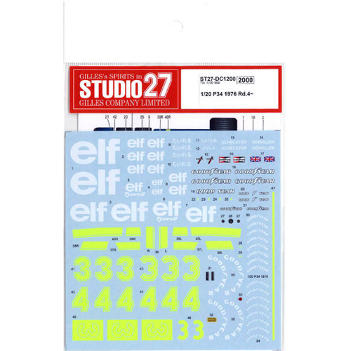 Studio27 ST27-DC1200 P34 1976 Rd.4~ Decal for Tamiya 1/20 Scale