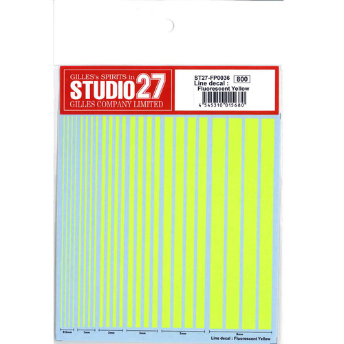 Studio27 ST27-FP0036 Checkered Line Decal : Fluorescent Yellow