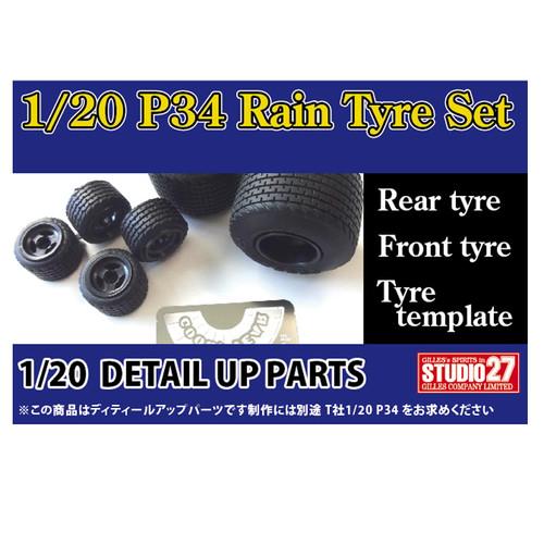 Studio27 ST27-FP20154 P34 Rain Tyre Set Detail Up Parts for Tamiya 1/20