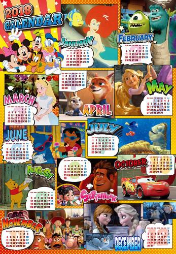 Tenyo Japan Jigsaw Puzzle D-1000-485 Disney 2018 Calendar (1000 Pieces)