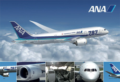 Yanoman Jigsaw Puzzle 1108-03 All Nippon Airways ANA Boeing B787 (108 L-Pieces)
