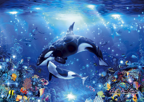 Epoch Jigsaw Puzzle 55-504 Lassen Love of Orcas (216 S-Pieces)