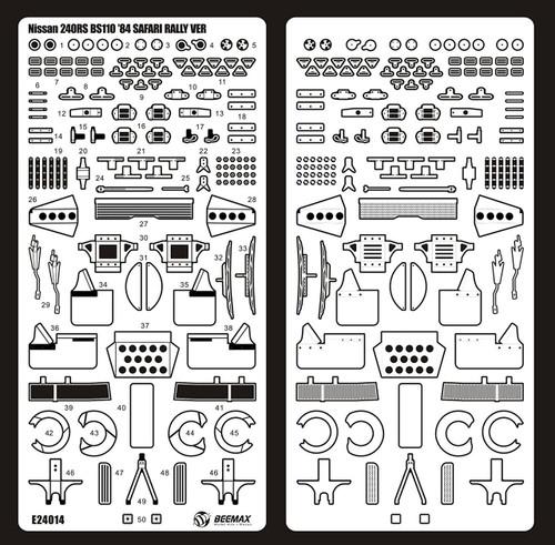 Aoshima 04347 Nissan 240RS BS110 '84 Safari Rally Ver. Detail Up Parts 1/24 Scale