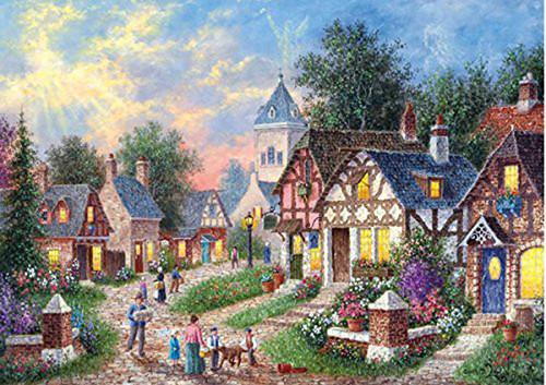 APPLEONE Jigsaw Puzzle 500-245 Dennis Lewan Peaceful Town (500 Pieces)