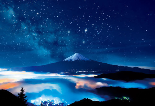 Beverly Jigsaw Puzzle 83-091 Japanese Scenery Starry Night Mt. Fuji (300 Pieces)