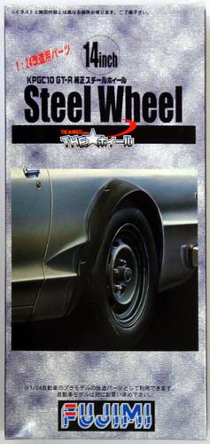 Fujimi TW06 KPGC10 GT-R Steel Wheel & Tire Set 14 inch 1/24 Scale Kit