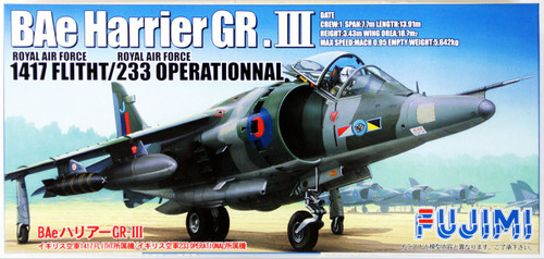 Fujimi F55 Royal Air Force BAe Harrier GR.III 1/72 Scale Kit
