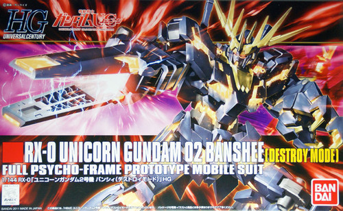 Bandai HGUC 134 Gundam RX-0 Unicorn Gundam 02 Banshee (Destroy Mode) 1/144 Scale Kit