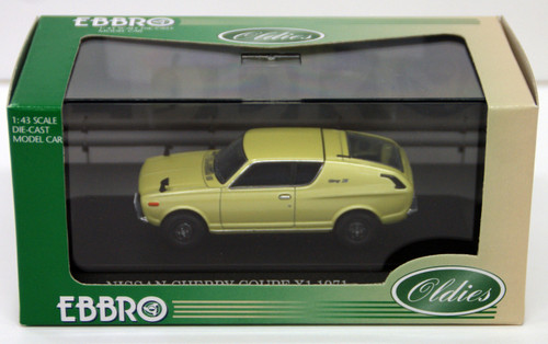 Ebbro 43542 NISSAN CHERRY COUPE X1 1971 Green 1/43 Scale