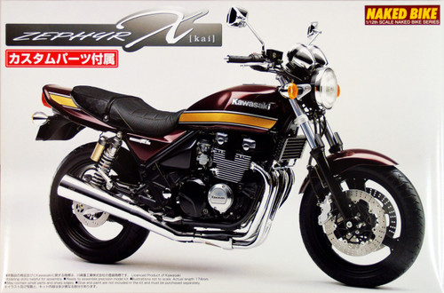 Aoshima Naked Bike 98 Kawasaki Zephyr Kai 2004 with Custom Parts 1/12 Scale Kit