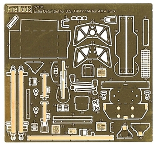 Fine Molds 82101 Extra Detail Set for US Army 1/4-Ton 4x4 Truck 1/20 Scale