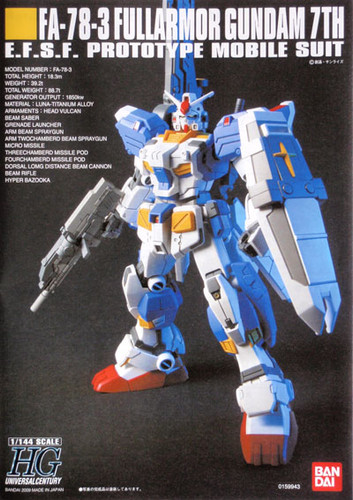 Bandai HGUC 098 Gundam FA-78-3 FULLARMOR 7TH 1/144 Scale Kit
