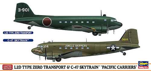 Hasegawa 10687 L2D Type Zero Transport & C-47 Skytrain Pacific Carriers (2 planes set) 1/200 Scale Kit