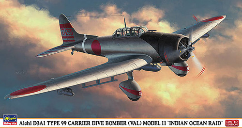 Hasegawa 07356 Aichi D3A1 Type 99 Carrier Dive Bomber (Val) Model 11 Indian Ocean Raid 1/48 Scale Kit
