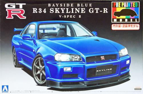 Aoshima 08591 Nissan R34 Skyline GT-R V-Spec II Bayside Blue 1/24 Scale Kit (Pre-painted Model)