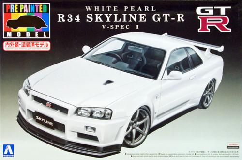 Aoshima 08607 Nissan R34 Skyline GT-R V-Spec II White Pearl 1/24 Scale Kit (Pre-painted Model)