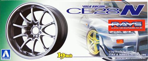 Aoshima 10020 Tire & Wheel Set No. 129 Volk Racing CE28N (Titanium Silver) 19 inch 1/24 Scale Kit