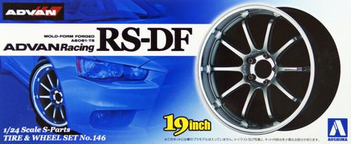 Aoshima 09017 Tire & Wheel Set No.146 ADVAN Racing RS-DF 19 inch 1/24 Scale Kit