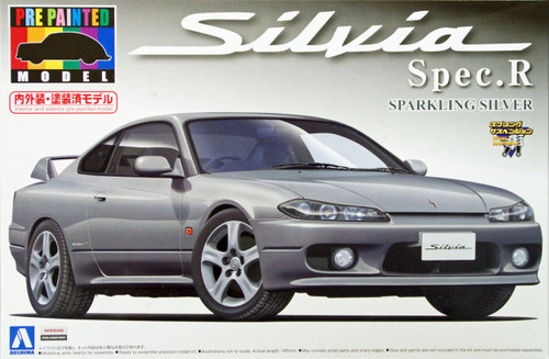 Aoshima 08645 S15 Nissan Silvia Spec.R Sparkling Silver 1/24 Scale Kit (Pre-painted Model)