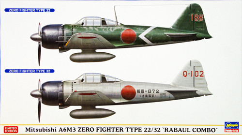 Hasegawa 02077 Mitsubishi A6M3 Zero Fighter Type 22/32 Rabaul Combo (2 plane set) 1/72 Scale Kit