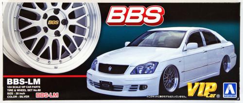 Aoshima 46418 BBS-LM 20 inch Silver Wheel & Tire Set 1/24 Scale Kit