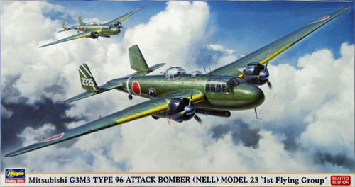 Hasegawa 02103 Mitsubishi G3M3 Type 96 Attack Bomber (Nell) Model 23 1st Flying Group 1/72 Scale Kit