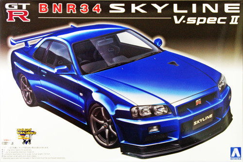 Aoshima 11027 BNR34 Nissan Skyline GT-R V-Spec II 1/24 Scale Kit