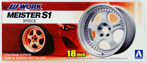 Aoshima 09130 Tire & Wheel Set No.150 WORK MEISTER S1 3Piece 18 inch 1/24 Scale Kit
