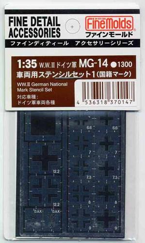 Fine Molds MG14 WW II German National Mark Stencil Set 1/35 Scale