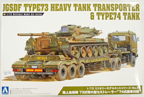 Aoshima 09963 JGSDF Type73 Heavy Tank Transporter & Type74 Tank 1/72 Scale Kit