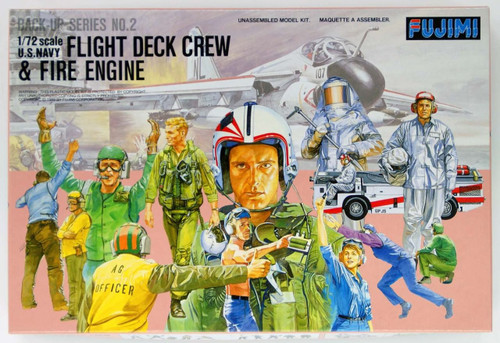 Fujimi Bup02 350028 US Navy Flight Deck Crew & Fire Engine 1/72 Scale Kit