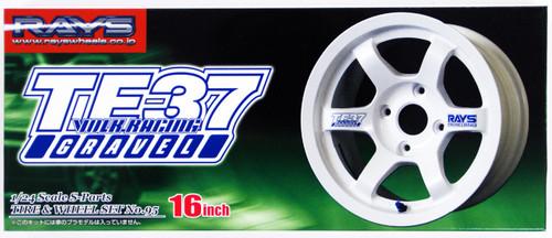 Aoshima 40225 Tire & Wheel Set Volk Racing TE37 Gravel 16 inch 1/24 Scale Kit